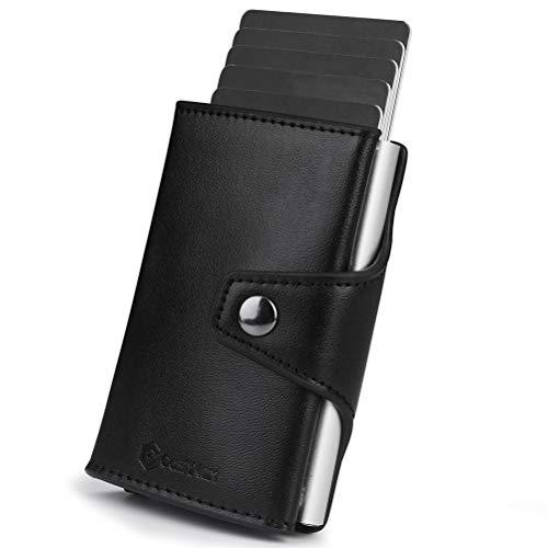 CashNox Cartera Compacta, Tarjetero de RFID Bloqueo Cartera Tarjetero con Pop-up Metalico Caja...